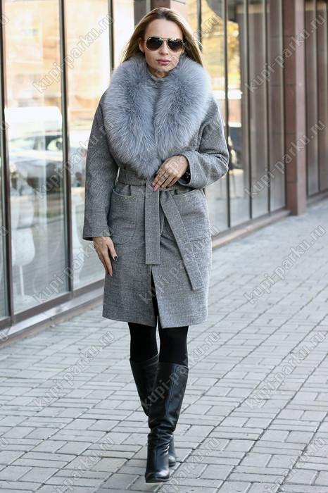 Теплое шерстяное пальто халат на зиму 2019 с мехом