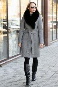 Шерстяное пальто 2019 на зиму серое